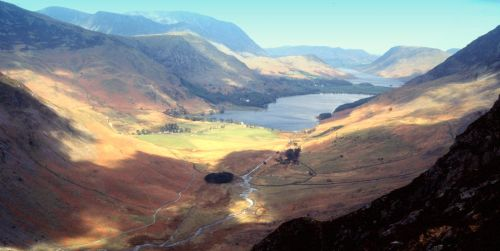 Looking down on Buttermere, Lake District, Cumbria.