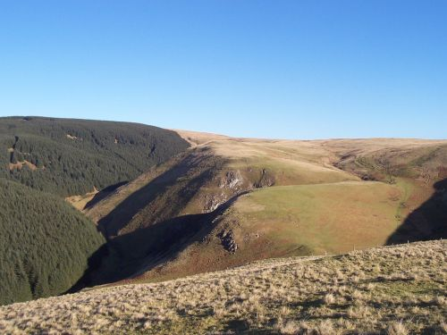 Ravens Crag and the Allerhope Burn, The Cheviot Hills, Northumberland.
