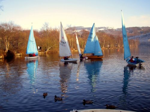 Yachts on Compstall Lake, Compstall, Greater Manchester.