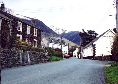 Threlkeld Village, Cumbria, with Blencathra (Halls Fell and summit)