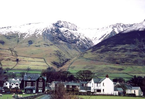 Threlkeld Village, Cumbria. The Knowe crags in the background.