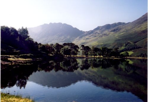 Buttermere, Cumbria, Haystacks and the path to Scarth Gap (clearly visible)