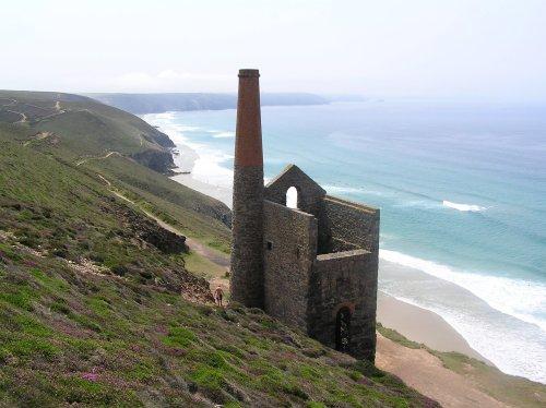 Tin mine buildings near St Agnes, Cornwall