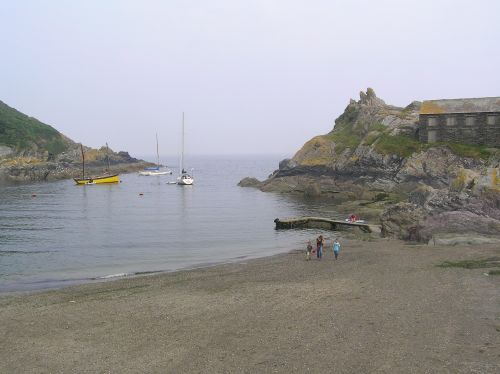 Polperro, Cornwall, looking out of the harbour entrance
