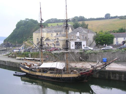 Tall ship at Charlestown, near St Austell, Cornwall