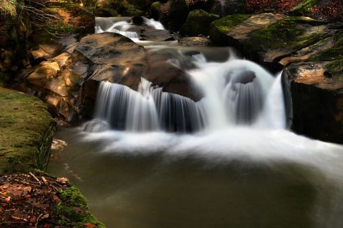 One of several waterfalls at Healey Dell, Whitworth, near Rochdale, Lancs.