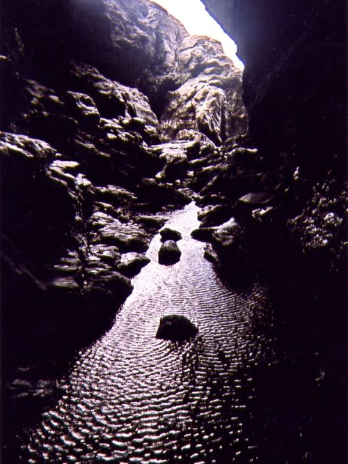 Inside Merlin's Cave, Tintagel, Cornwall.