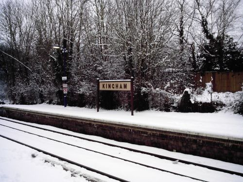 Kingham train station in the Cotswolds looking lovely with the snow