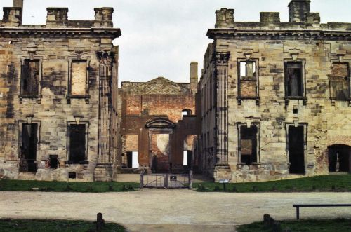 This is the front of Sutton Scaresdale Hall, Derbyshire