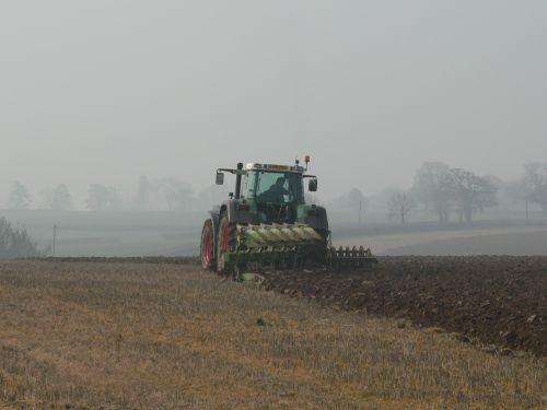 Ploughing a field in rural Somerset