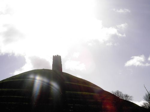 Glastonbury tor and tower with the winter sun