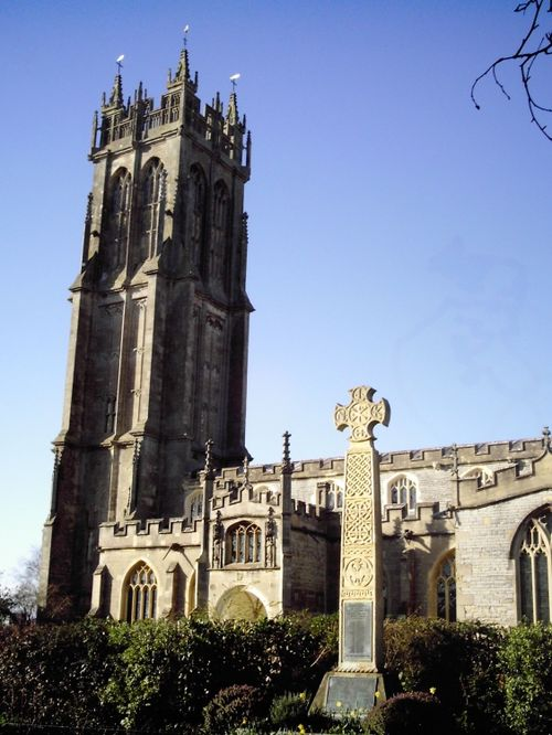 Glastonbury church and cross