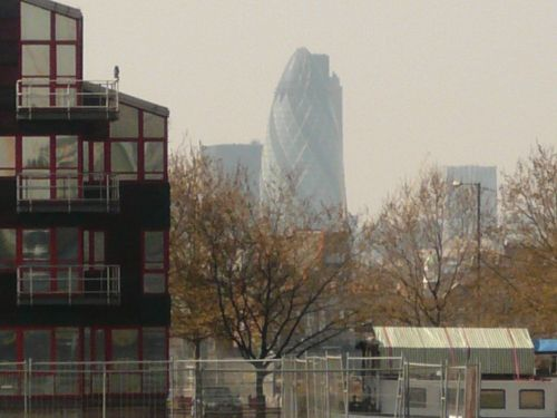 from Canary Wharf you can see the Gherkin in the background.  London