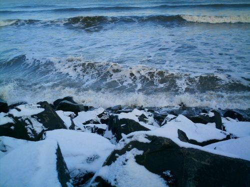 The beach in the snow at Seaton Carew - Hartlepool