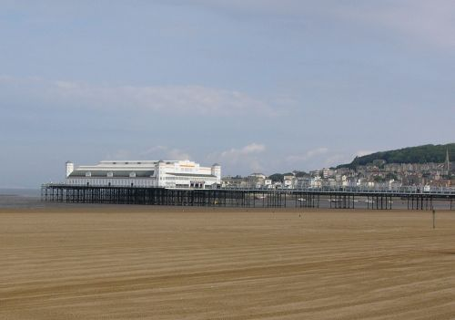 Pier and beach. Weston-Super-Mare, Somerset