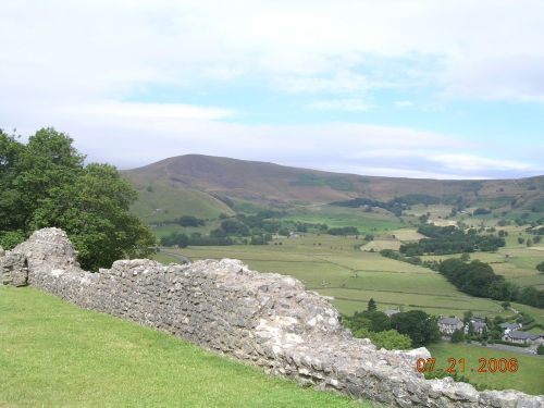 View of Mam Tor from Peveril Castle, Castleton, Derbyshire. July 06.