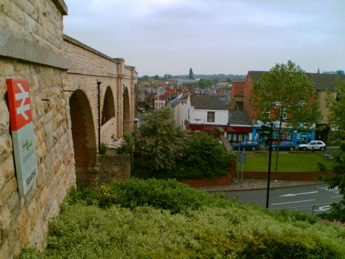 A view along the viaduct of White Hart Street, Mansfield, Nottinghamshire