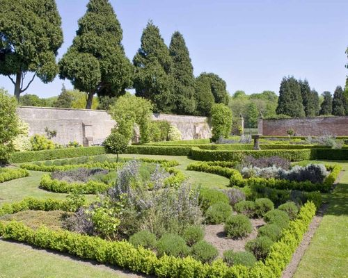 Walled flower garden at Newstead Abbey in Nottinghamshire.