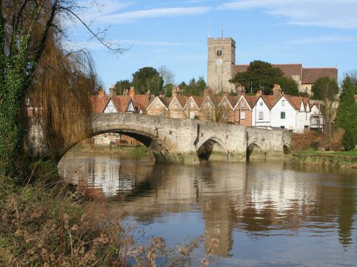 Aylesford medieval bridge over the River Medway in Kent is overlooked by the parish church.