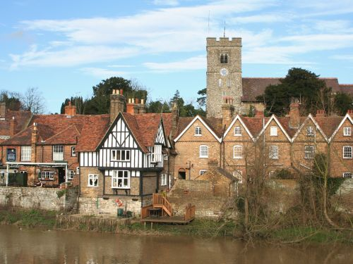 The parish church overlooks the village of Aylesford, Kent