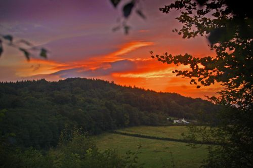 Sunset from King Arthurs cave, Doward, Herefordshire.
