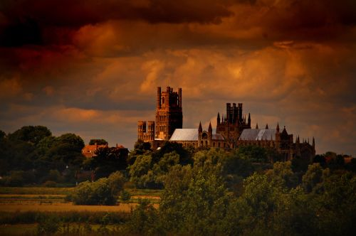Ely cathedral, under a brooding sky.