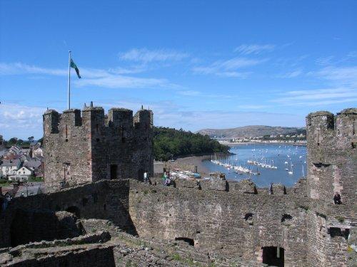Conwy Harbour, from walls of Conwy Castle, Gwynedd, Wales