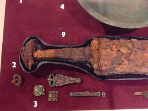 Sword and fittings from burial, Sutton Hoo, Woodbridge, Suffolk
