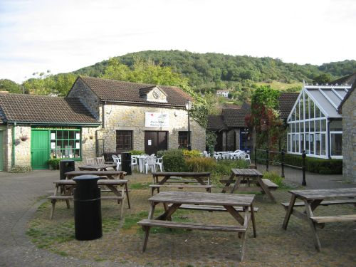 Picnic area behind shops, Cheddar, Somerset