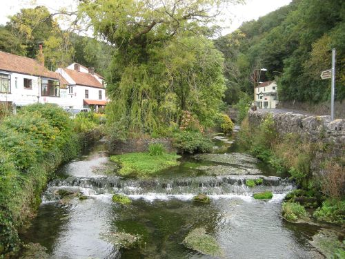 Small river running through Cheddar town, Somerset