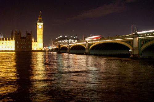 Big Ben and Westminster Bridge by night, London, Greater London