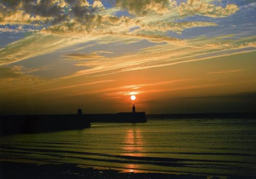 Sunset over west pier, Whitehaven, Cumbria