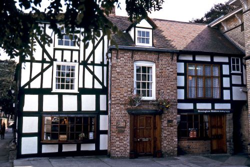 Half-timbered shops in Leominster, Herefordshire