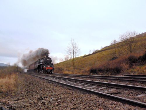 Steam Train passing through Mossley, Greater Manchester