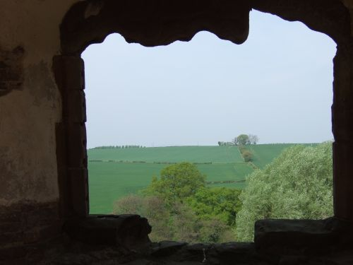 Looking out from Raglan Castle, Usk, Monmouthshire, Wales