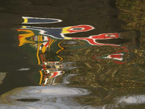 Reflection of narrowboat, Napton lock-flight, Oxford Canal