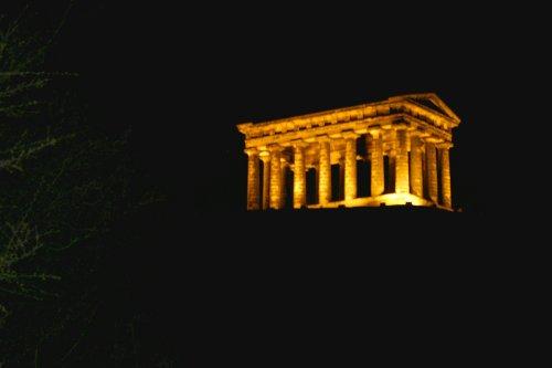 Penshaw Monument, Sunderland, at night.