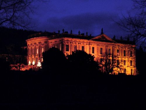 Chatsworth floodlit for christmas