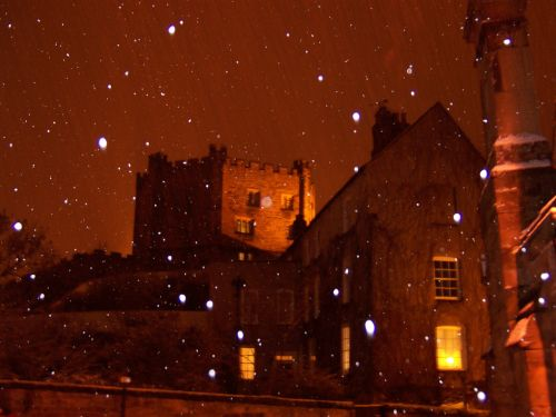 Snowy Castle at night