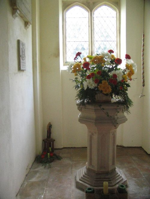 St Stephens Church - Christmas Flowers and Font