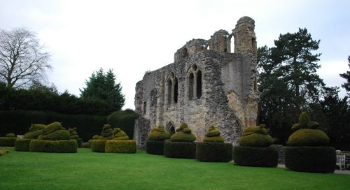 Wenlock Priory with animal shape trees