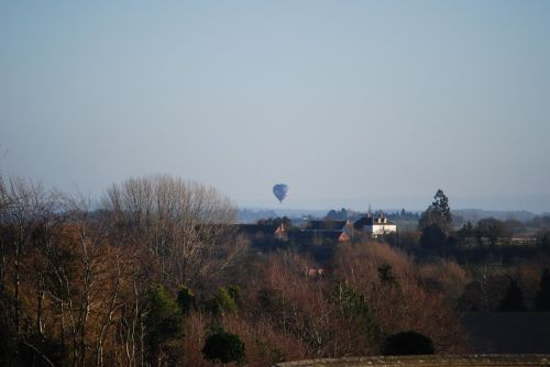 View of hot air balloon from Witley Court