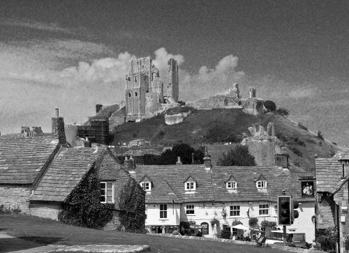 Corfe in black and white