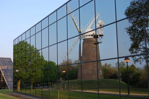 Reflection of a windmill on a business park in Swindon