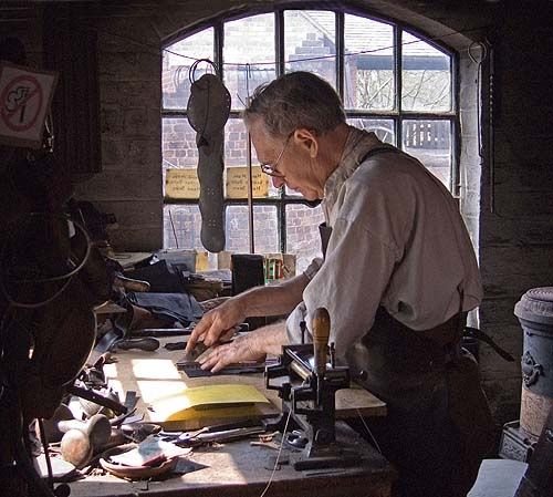 Leatherworker at Blists Hill, Shropshire