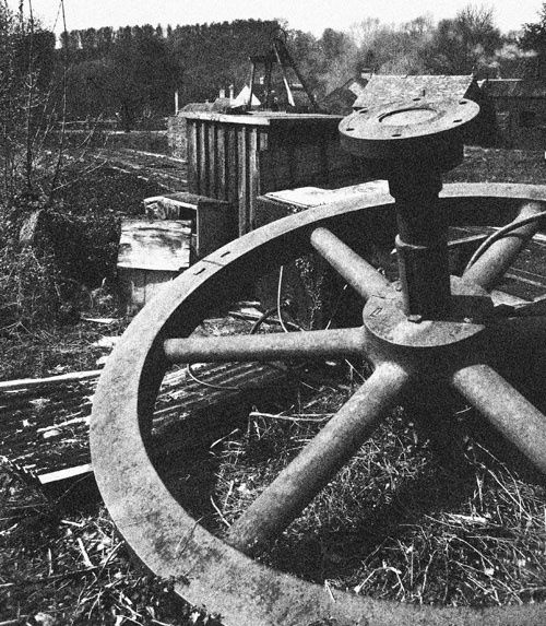Discarded flywheel at Blists Hill, Shropshire