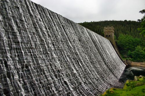 Water overlowing Derwent Dam