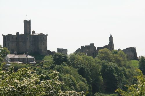 Warkworth Castle from the opposite bank of the River Coquet
