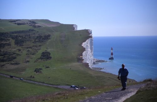 The white cliffs and the lighthouse