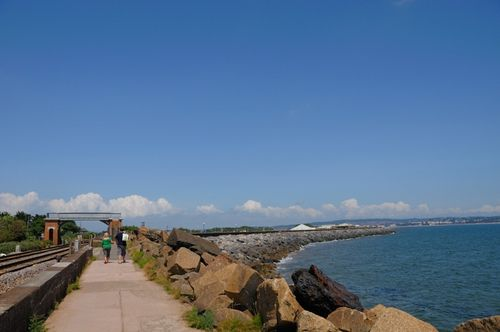 Dawlish Warren, Promenade and Holiday Riviera rail line to Torquay - June 2009